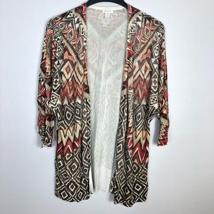 Chicos Open Front Knit Cardigan Sweater Tribal